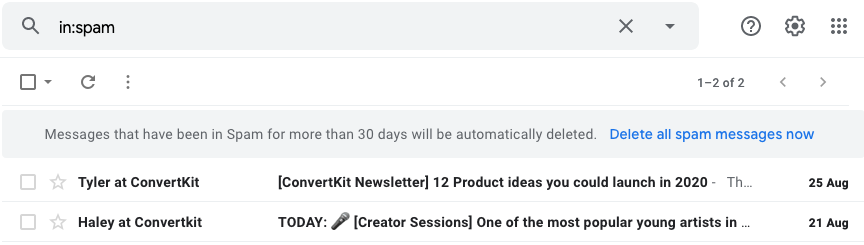 Screenshot of Spam Folder showing 2 additional emails from ConvertKit