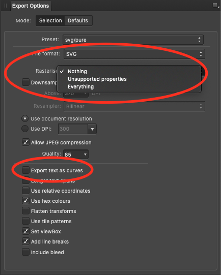 Affinity Designer's 'Export Options' panel.